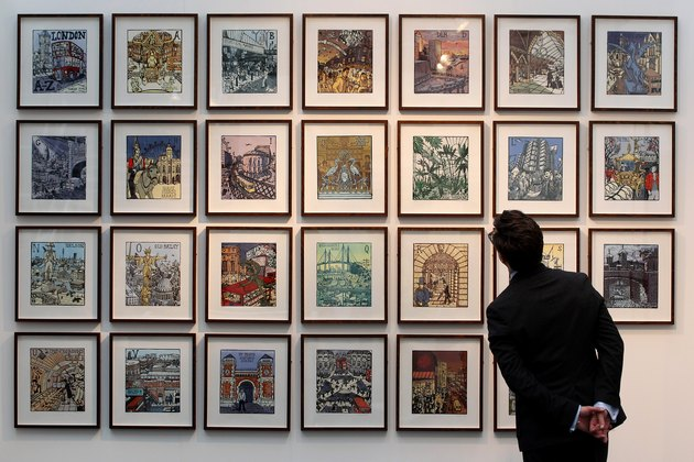 Artists And Galleries Advertise Their Artwork At The London Art Fair