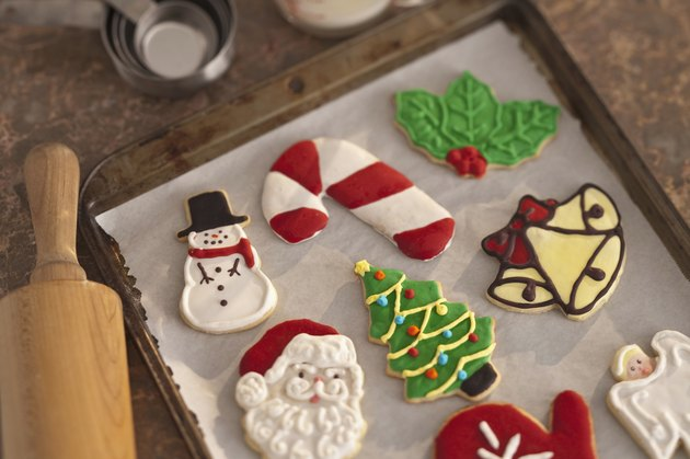 cristmas cookies on cookie sheet