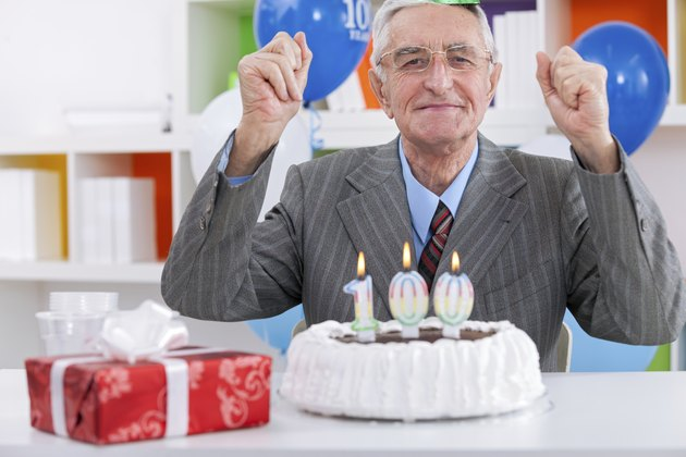 Elderly man celebrating birthday