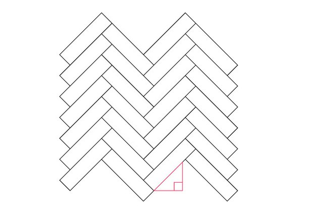 Line the first strip with the right triangle in a herringbone pattern.