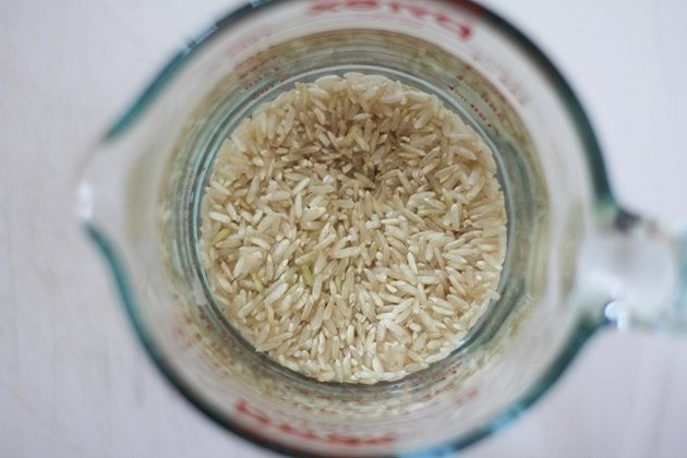 rice soaking in water