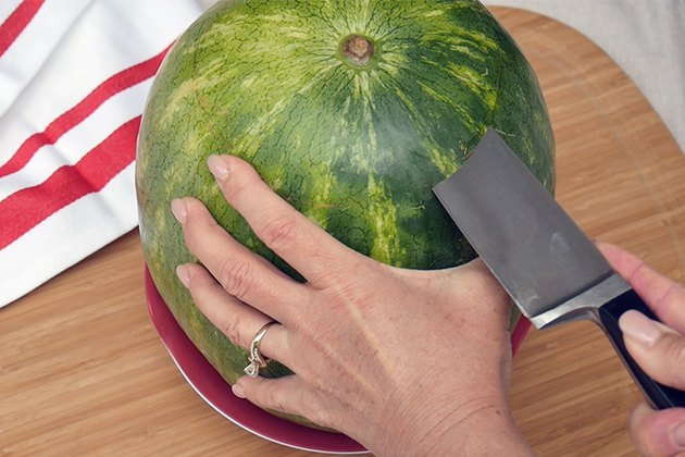cut off the top of the watermelon