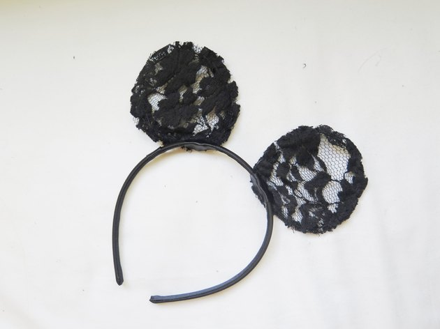 The mouse ears with the back layer of lace cut out.