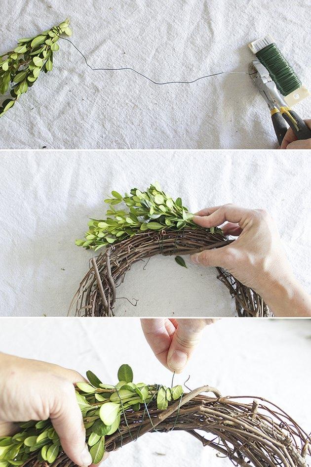 Attach bundle to grapevine wreath.