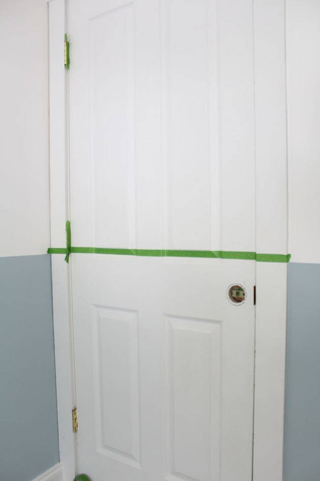 Tape the interior door with painter's tape.