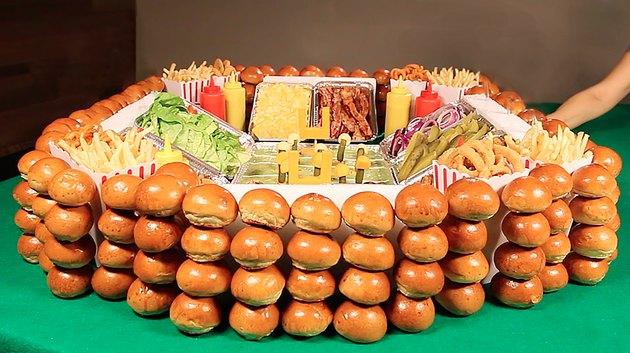 stacking mini buns around the stadium