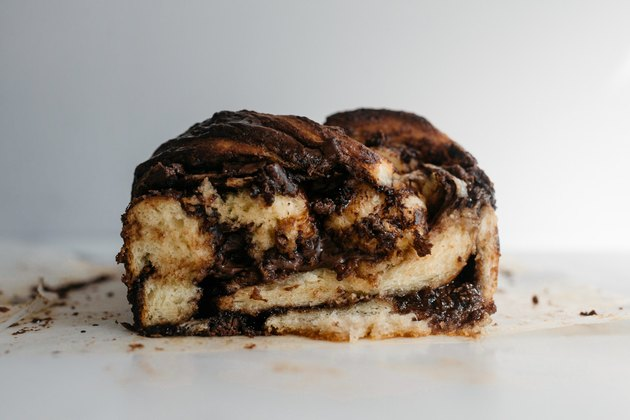 This babka is filled with delicious swirls of hazelnut chocolate.
