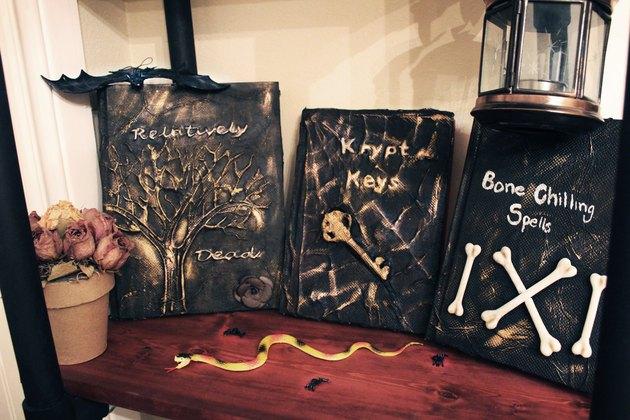 Displayed spell books for Halloween.
