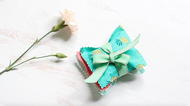 Three sachets tied with ribbon