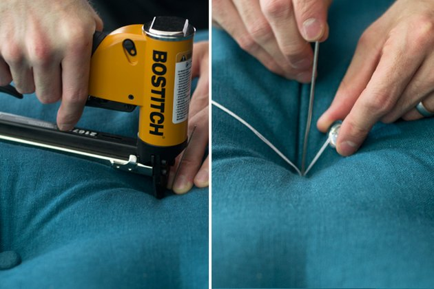 Secure the fabric with the staple gun and push the button through the hole.