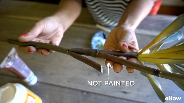 Painting artificial plant stems with acrylic paint