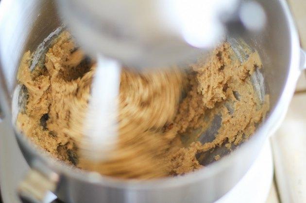 Mixer mixing peanut butter cookie dough