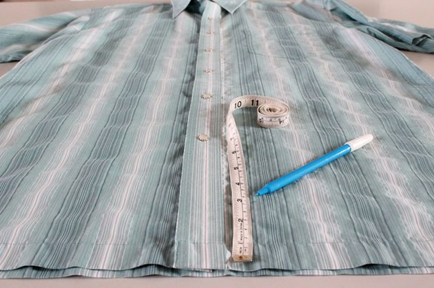 measuring and marking new hem