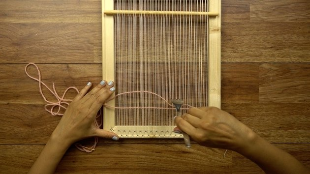 Weaving on DIY simple frame loom.