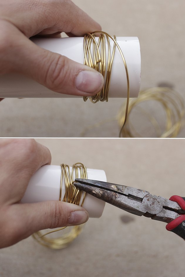 Wrapping wire 12 times and creating hook of wire end.