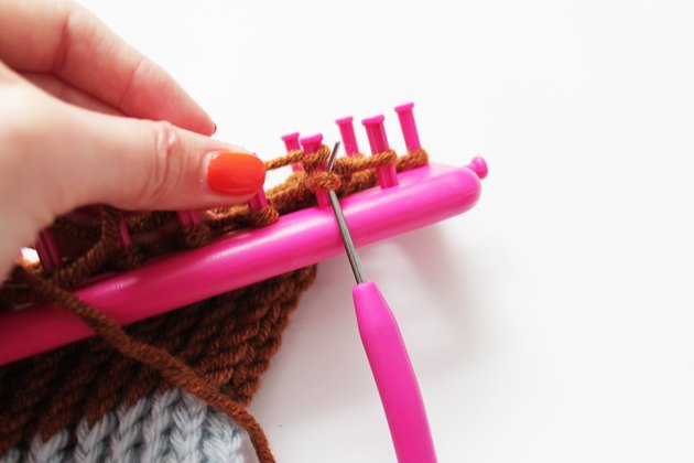 Binding off of the loom.