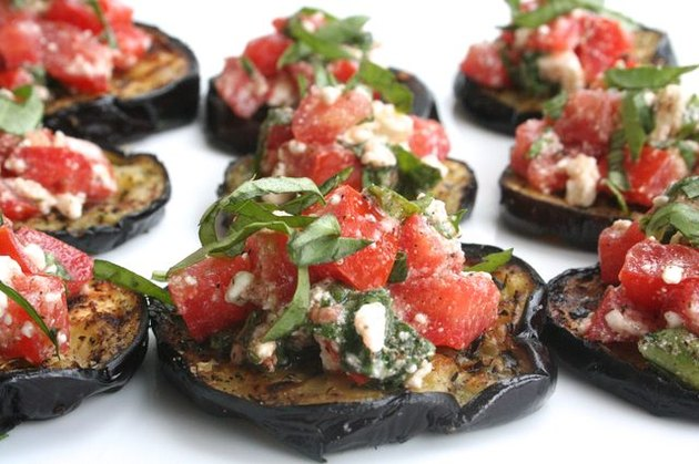 grilled eggplant with tomatoes and basil