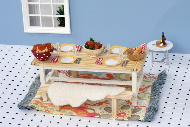 Farmhouse Table, set for dinner