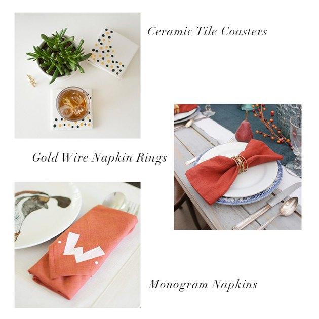 ceramic tile coasters, gold wire napkin rings, monogram napkins