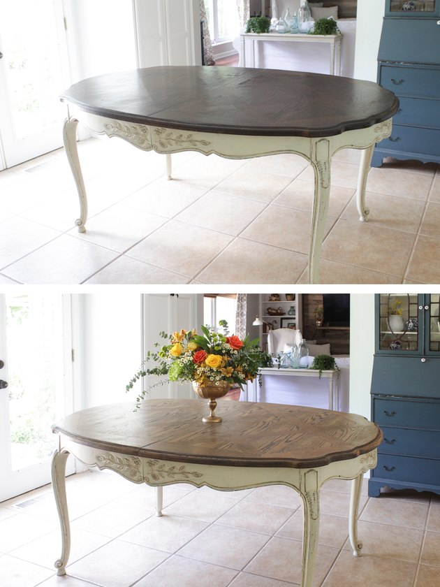 Before and after of refinished dining table