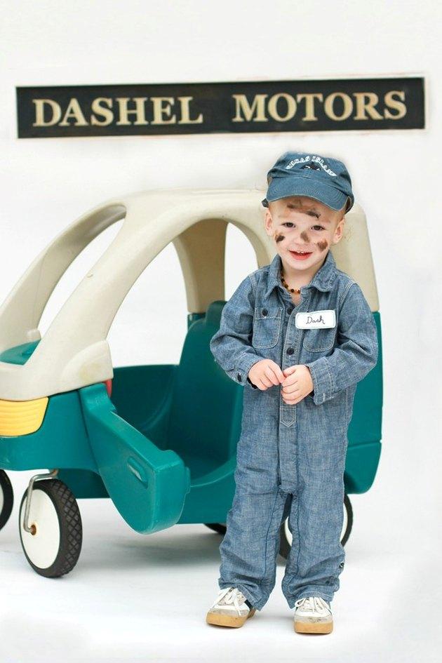 Boy in Car Mechanic Costume