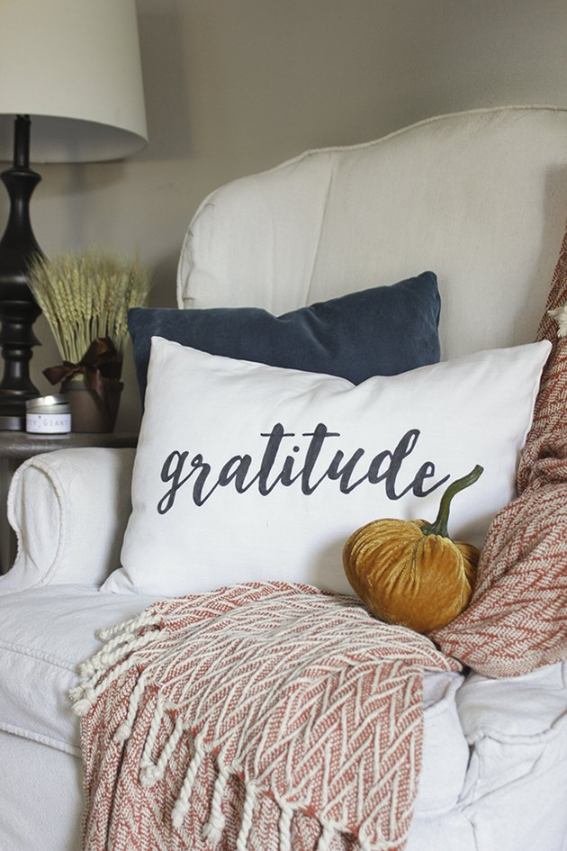 DIY Gratitude lumbar pillow