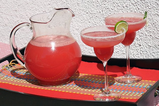 margarita pitcher and glasses
