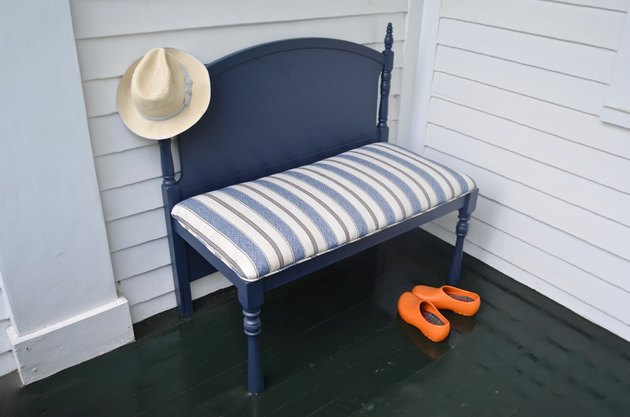 upholstered bench from salvaged headboard