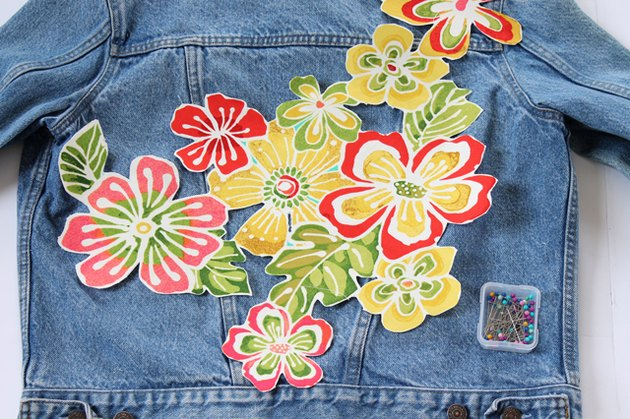 place floral print onto back of jacket