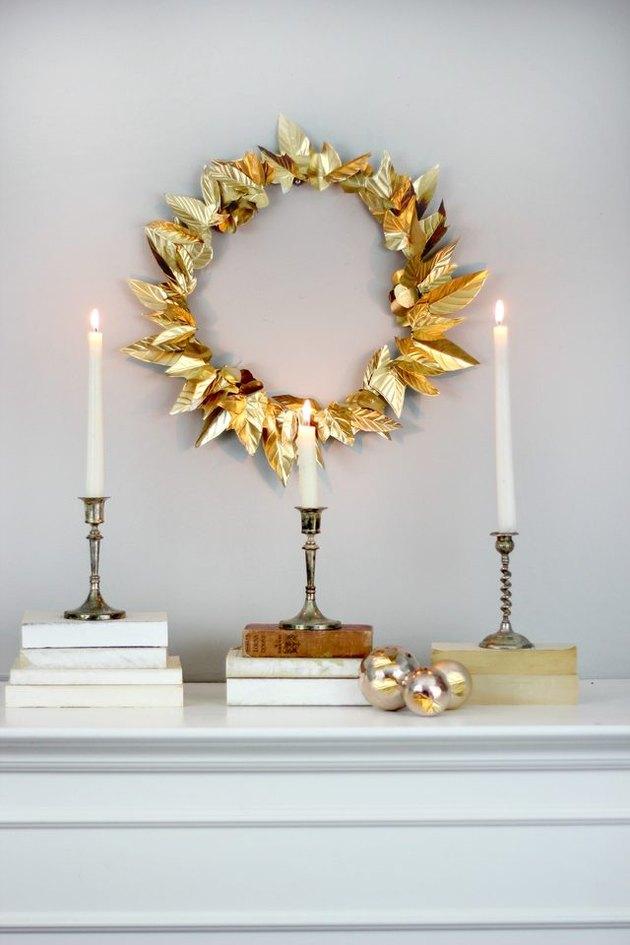 DIY embossed foil leaf wreath