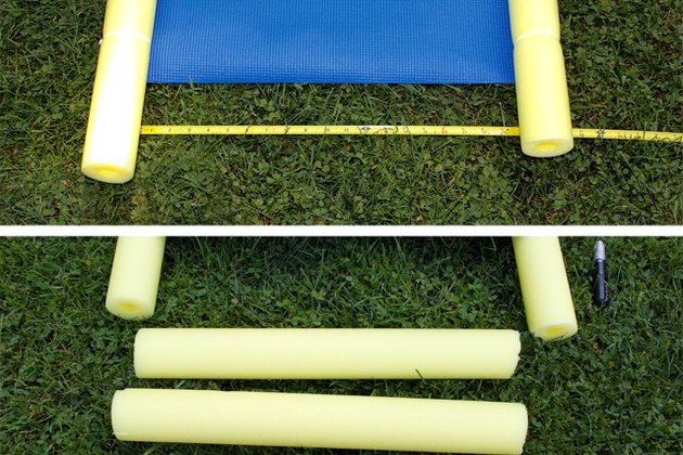 Cut two pieces of pool noodle to fit in between the noodles at the end of the mat.
