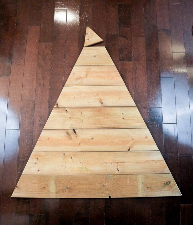 Cut planks forming triangle.