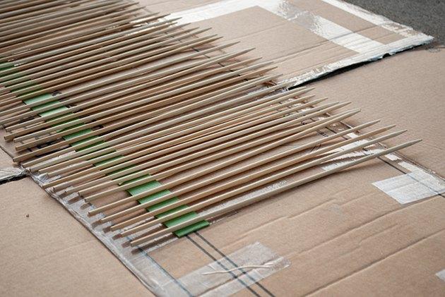Spray paint bamboo skewers