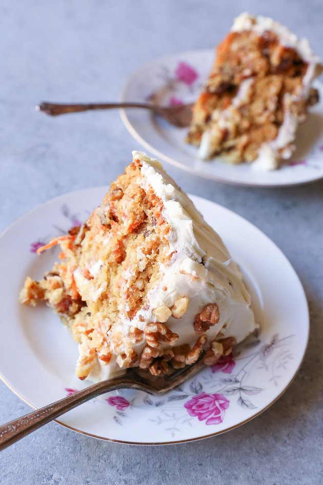 Two slices of gluten-free carrot cake