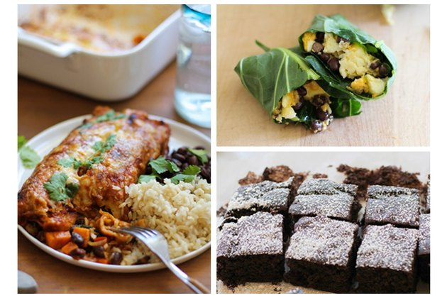 Vegetarian enchilada, breakfast burrito, black bean brownies