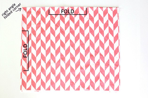 Fold your fabric in fourths to give a right angle folded edge