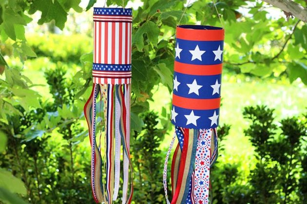 Red, white and blue wind sock.