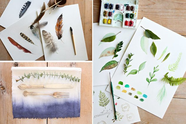 Photos of watercolor leaves, feathers, and a napkin.