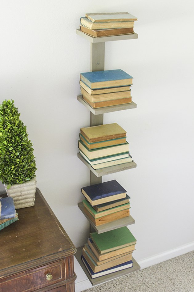 Wall mounted spine bookshelf view from above.
