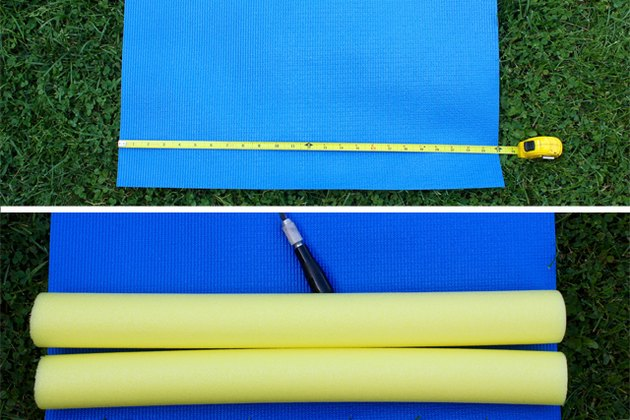 Measure the width of the mat and cut two pool noodles equal to the width of the mat.