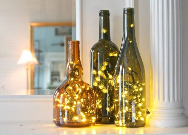 Wine bottles and lights.
