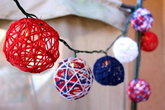 Red, white and blue yarn twinkle lights.