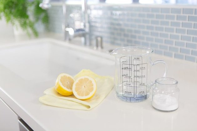 Clean a smelly drain with natural products such as lemon and baking soda.
