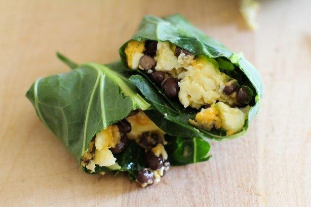 Collard greens breakfast burrito.
