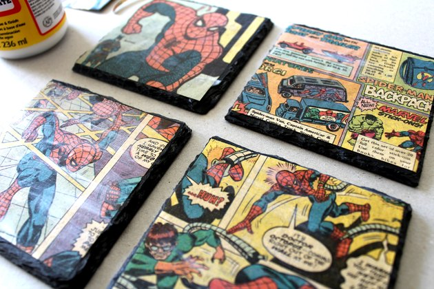 how to make vintage comic book coasters with slate