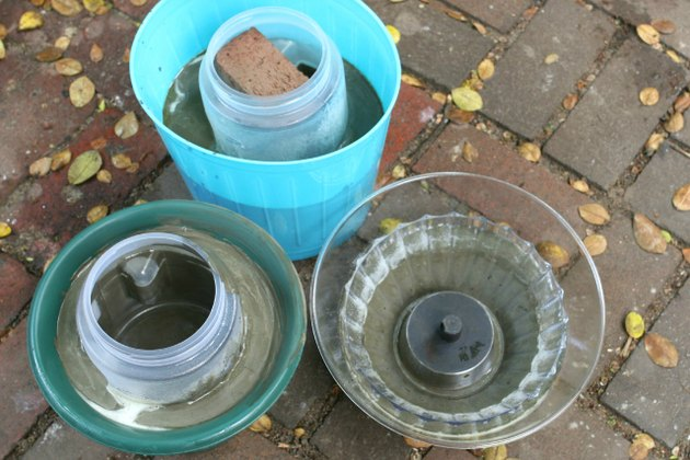 Plastic containers make molds for cement