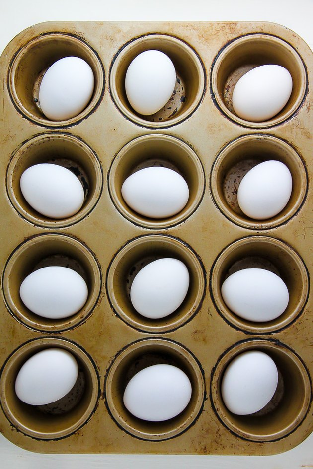 Eggs get baked in a muffin tin.