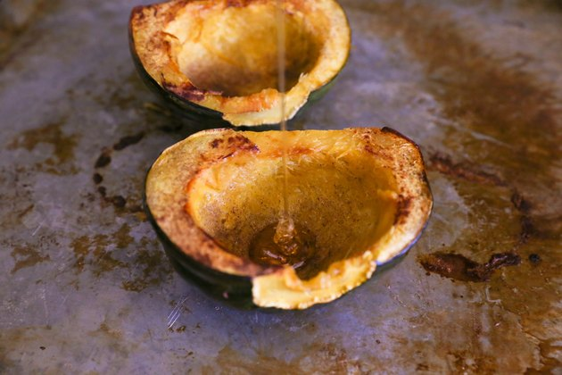 acorn squash with honey drizzled inside