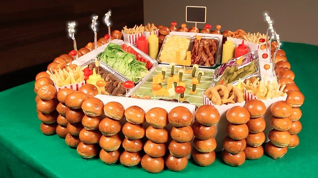 super bowl snack stadium featuring gourmet sliders