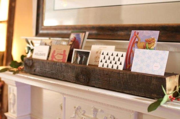 Reclaimed wood card display